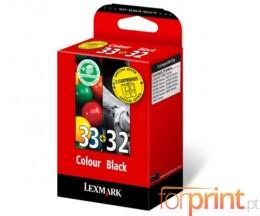 2 Original Ink Cartridges, Lexmark 33  Color 11.5ml + Lexmark 32 Black 15.6ml