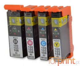 4 Compatible Ink Cartridges, Lexmark 100 XL Black 19ml + Color 12.5ml