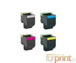 4 Compatible Toners, Lexmark 802S Black + Color ~ 2.500 / 2.000 Pages