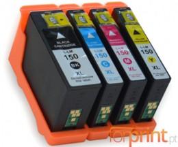 4 Compatible Ink Cartridges, Lexmark 150 XL Black 35ml + Color 18ml