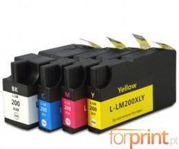 4 Compatible Ink Cartridges, Lexmark 200 XL / 210 XL Black 82ml + Color 36ml