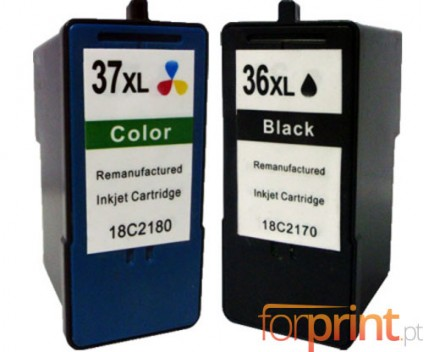 2 Compatible Ink Cartridges, Lexmark 37 XL Color 15ml + Lexmark 36 XL Black 21ml