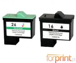 2 Compatible Ink Cartridges, Lexmark 26 / 27 Color 12ml + Lexmark 16 / 17 Black 15ml