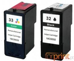 2 Compatible Ink Cartridges, Lexmark 32 Color 15ml + Lexmark 33 Black 21ml