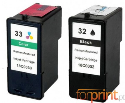 2 Compatible Ink Cartridges, Lexmark 32 Color 15ml + Lexmark 33 Black 21ml