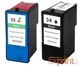 2 Compatible Ink Cartridges, Lexmark 35 Color 15ml + Lexmark 34 Black 21ml