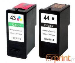 2 Compatible Ink Cartridges, Lexmark 44 XL Black 21ml + Lexmark 43 XL Color 15ml