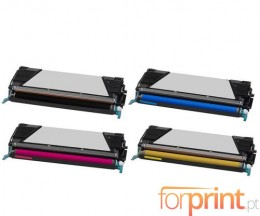 4 Compatible Toners, Lexmark C734A1 ~ 8.000 / 6.000 Pages