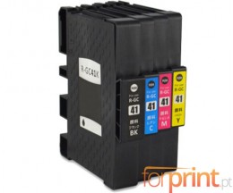 4 Compatible Ink Cartridges, Ricoh GC-41 / GC-41 XXL Black 36ml + Color 22ml