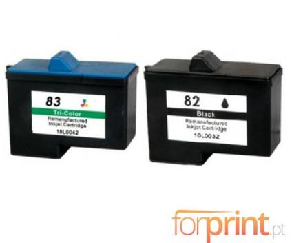 2 Compatible Ink Cartridges, Lexmark 82 Black 21ml + Lexmark 83 Color 15ml